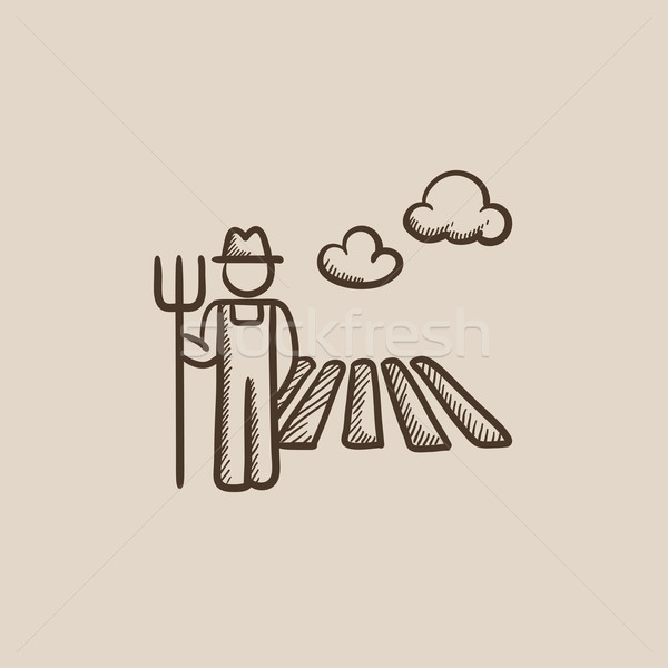 Farmer with pitchfork sketch icon. Stock photo © RAStudio