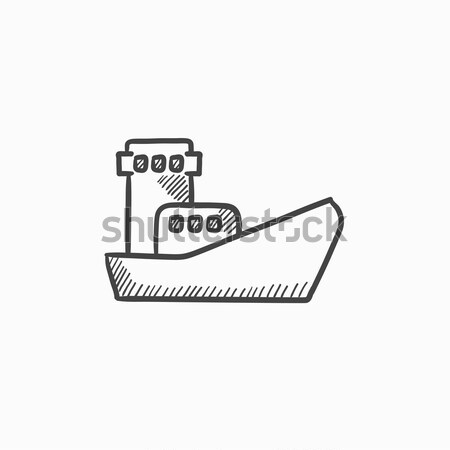 Carga navio porta-contentores esboço ícone teia móvel Foto stock © RAStudio