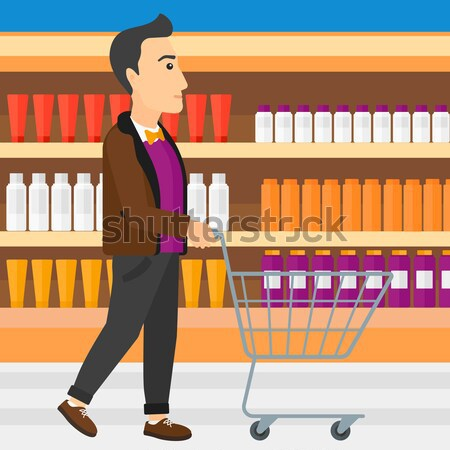 Cliente Asia hombre empujando vacío supermercado Foto stock © RAStudio