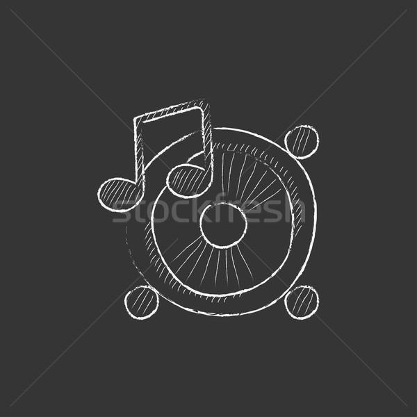 Loudspeakers with music note. Drawn in chalk icon. Stock photo © RAStudio