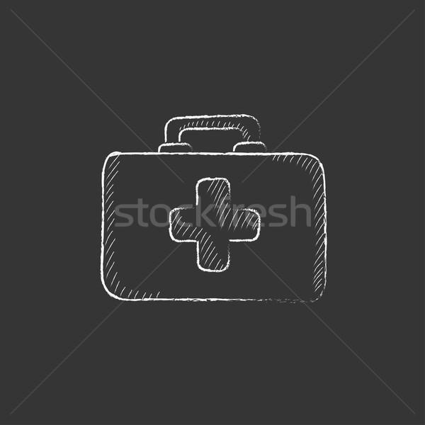 First aid kit. Drawn in chalk icon. Stock photo © RAStudio