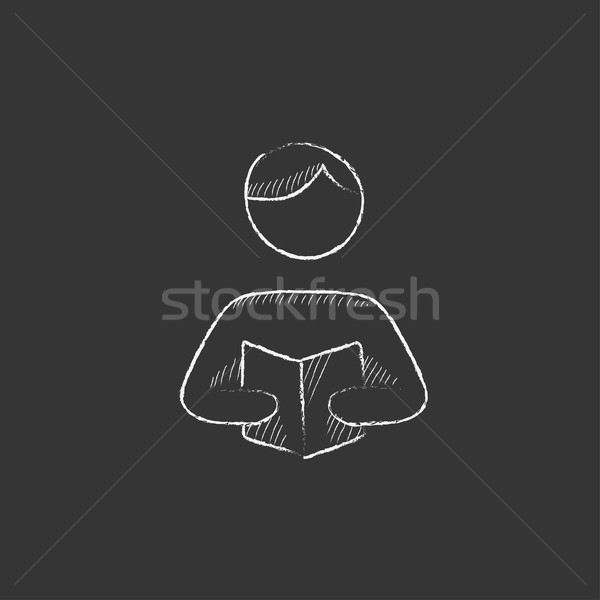 Férfi olvas könyv rajzolt kréta ikon Stock fotó © RAStudio