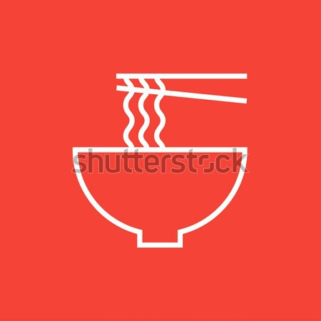 Bowl of noodles with pair chopsticks line icon. Stock photo © RAStudio