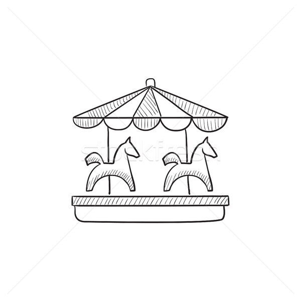 Merry-go-round with horses sketch icon. Stock photo © RAStudio