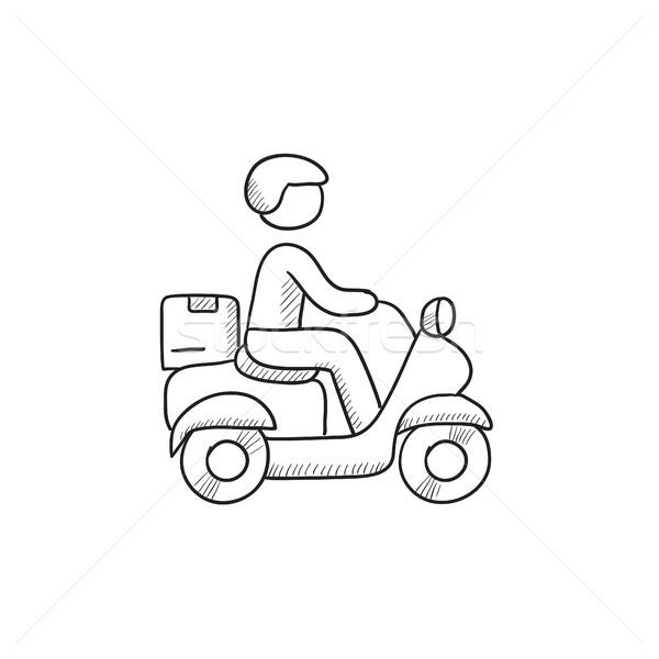 Mann tragen Waren Fahrrad Skizze Symbol Stock foto © RAStudio