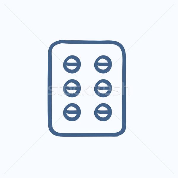 Plate of pills sketch icon. Stock photo © RAStudio