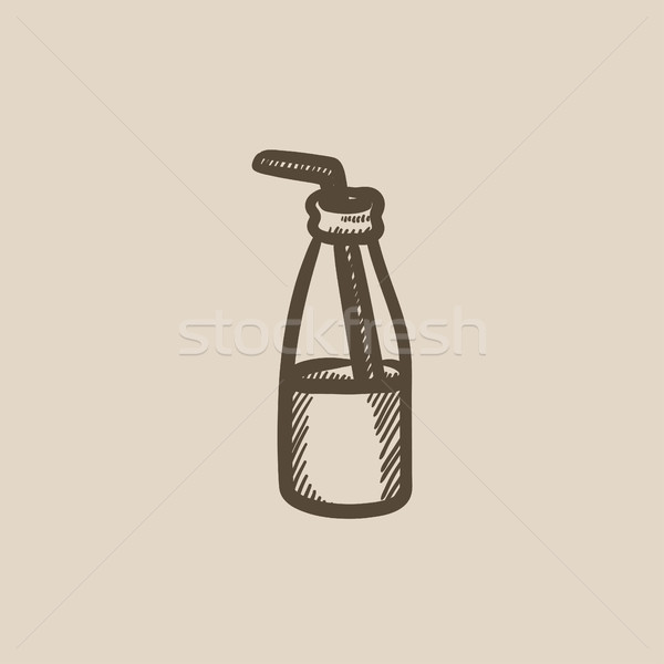 Glass bottle with drinking straw sketch icon. Stock photo © RAStudio