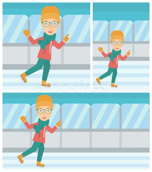 Woman ice skating vector illustration. Stock photo © RAStudio
