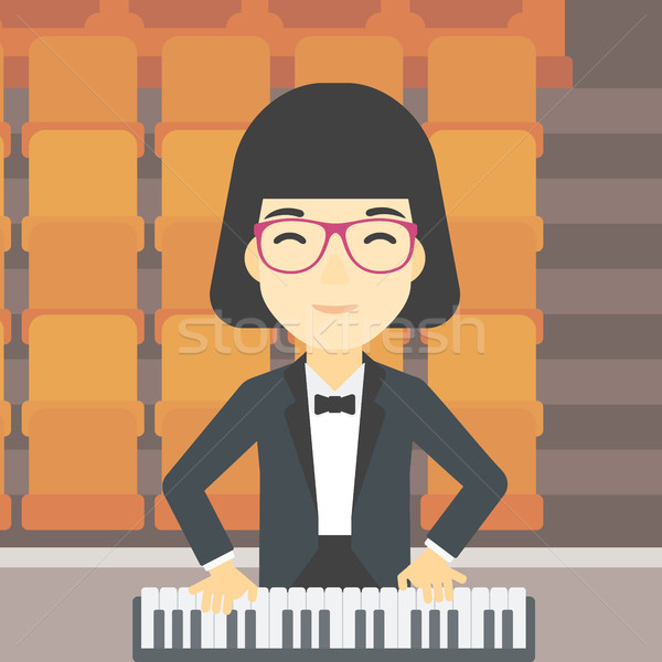Mujer jugando piano Asia sonriendo músico Foto stock © RAStudio