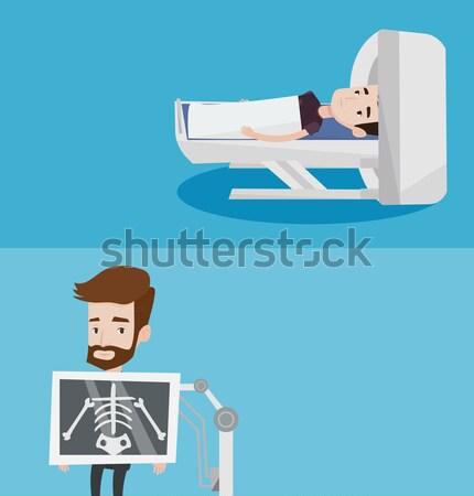 Paciente cama de hospital asiático homem cama hospital Foto stock © RAStudio