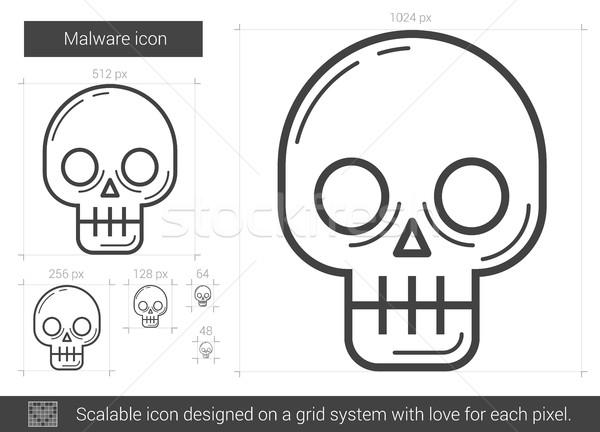 Kötü amaçlı yazılım hat ikon vektör yalıtılmış beyaz Stok fotoğraf © RAStudio