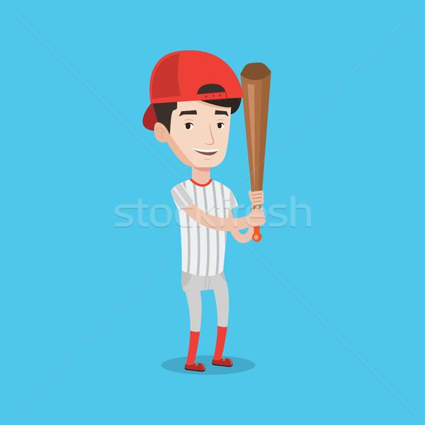 Baseball játékos denevér teljes alakos fiatal mosolyog visel Stock fotó © RAStudio