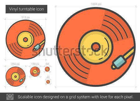 Stock photo: Vinyl turntable line icon.