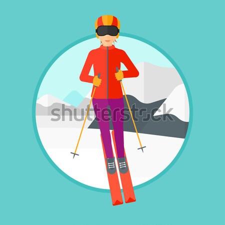 Young woman skiing vector illustration. Stock photo © RAStudio