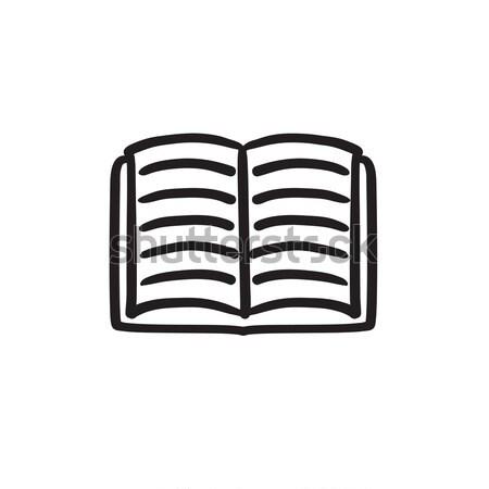 Open boek schets icon vector geïsoleerd Stockfoto © RAStudio