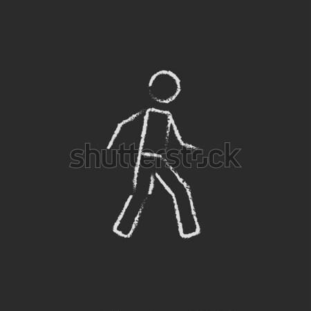 Man doing step exercise sketch icon. Stock photo © RAStudio