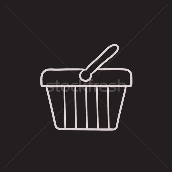 Bevásárlókosár rajz ikon vektor izolált kézzel rajzolt Stock fotó © RAStudio