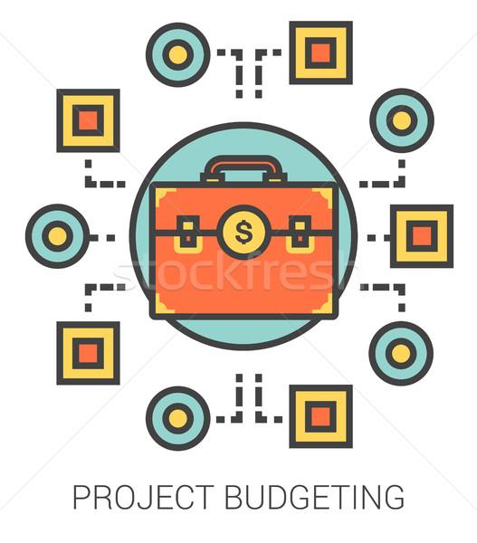 Projekt költségvetést készít vonal ikonok infografika metafora Stock fotó © RAStudio