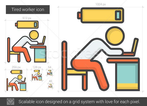 Tired worker line icon. Stock photo © RAStudio
