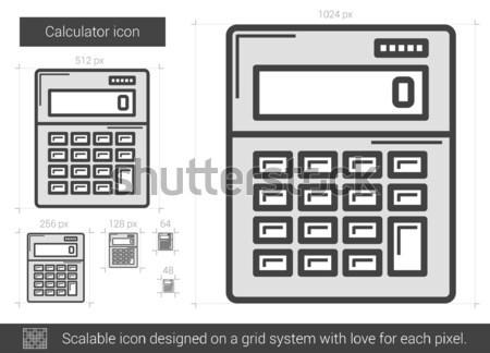 Stock fotó: Számológép · vonal · ikon · vektor · izolált · fehér