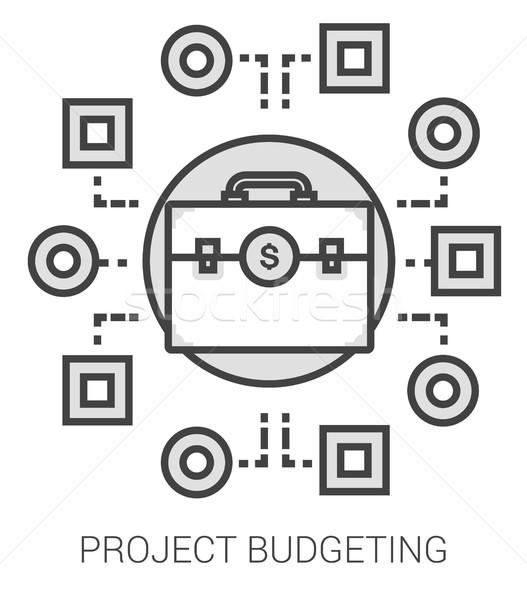 Projekt költségvetést készít vonal infografika metafora ikonok Stock fotó © RAStudio