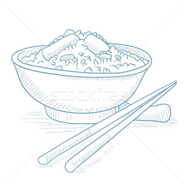 Tál főtt rizs evőpálcikák kézzel rajzolt fehér Stock fotó © RAStudio
