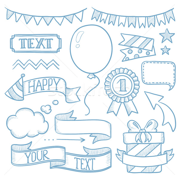Stock photo: Set of ribbons and elements for party invitation.