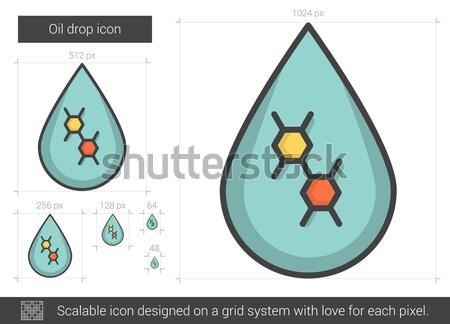 Stockfoto: Olie · drop · lijn · icon · vector · geïsoleerd