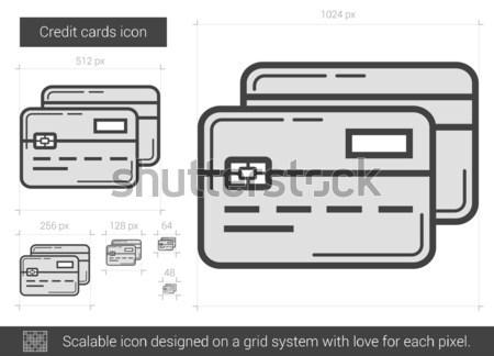Creditcards lijn icon vector geïsoleerd witte Stockfoto © RAStudio