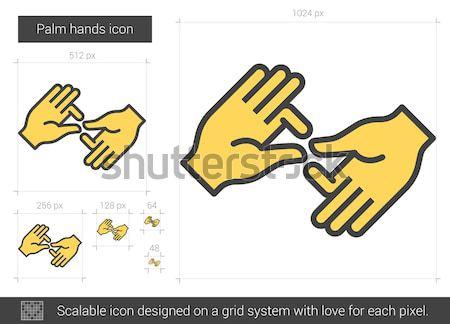 手のひら 手 行 アイコン ベクトル 孤立した ストックフォト © RAStudio