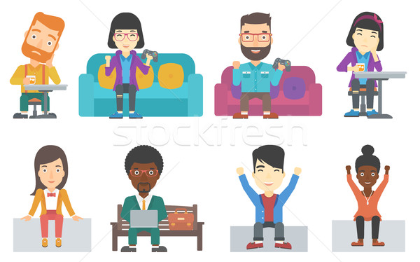 Vector set of business characters and gamers. Stock photo © RAStudio