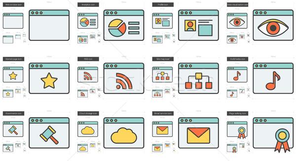 Application line icon set. Stock photo © RAStudio
