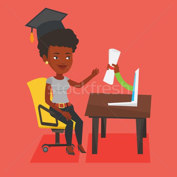 Posgrado diploma ordenador África estudiante graduación Foto stock © RAStudio