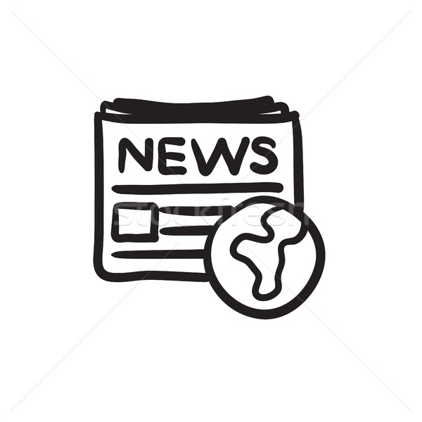 International newspaper sketch icon. Stock photo © RAStudio