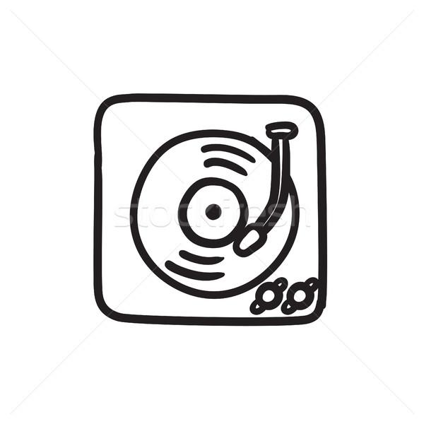 Turntable croquis icône vecteur isolé dessinés à la main Photo stock © RAStudio