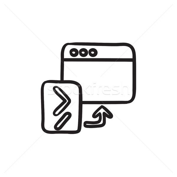 Böngésző ablak startup rajz ikon vektor Stock fotó © RAStudio