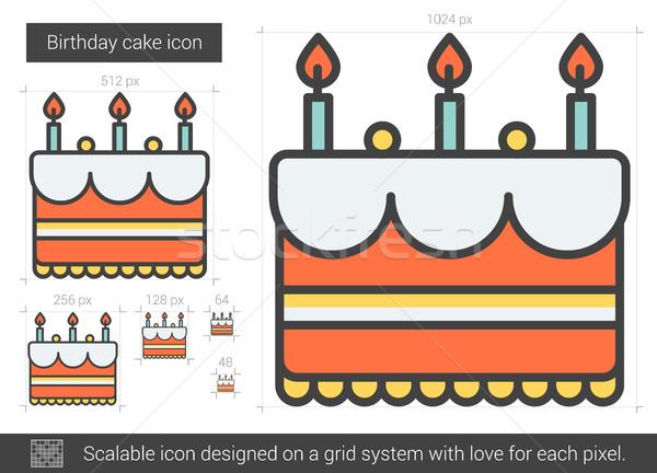 именинный торт линия икона вектора изолированный белый Сток-фото © RAStudio