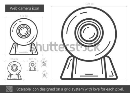 Foto d'archivio: Web · fotocamera · line · icona · vettore · isolato