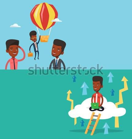 Employee hanging on balloon vector illustration Stock photo © RAStudio