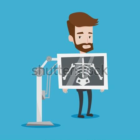 Beteg röntgen eljárás fiatal ázsiai férfi Stock fotó © RAStudio