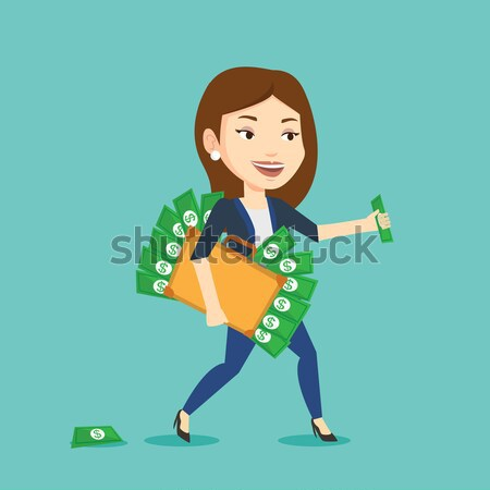 Business woman with briefcase full of money. Stock photo © RAStudio