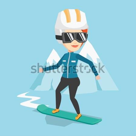 Fiatal nő snowboard kaukázusi nő hegy snowbordos Stock fotó © RAStudio