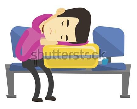 Kimerült férfi alszik bőrönd repülőtér ázsiai Stock fotó © RAStudio