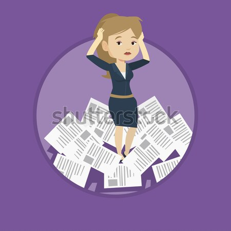Stock photo: Stressed business woman having lots of work to do.