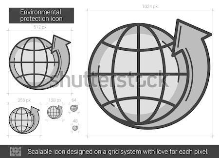 Ambiental proteção linha ícone vetor isolado Foto stock © RAStudio