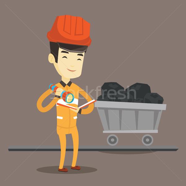 Miner checking documents vector illustration. Stock photo © RAStudio