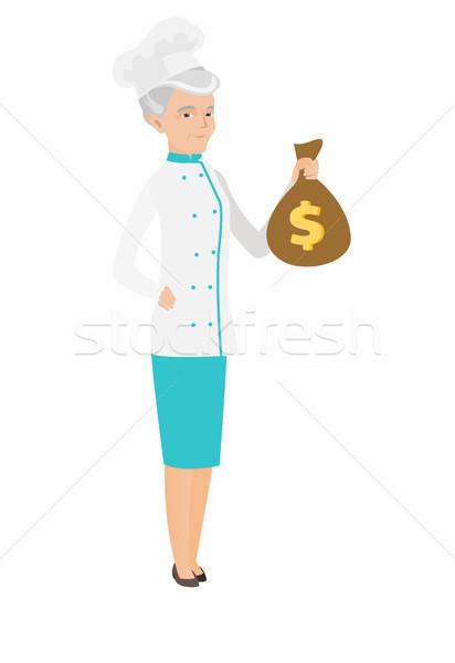 Kaukázusi szakács tart pénz táska szakács Stock fotó © RAStudio