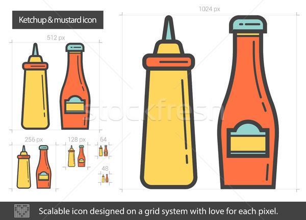 Ketchup senape line icona vettore isolato Foto d'archivio © RAStudio
