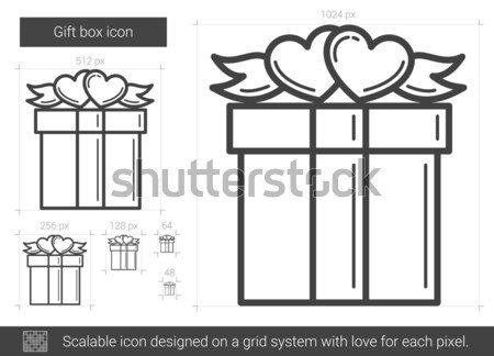 Gift box line icon. Stock photo © RAStudio