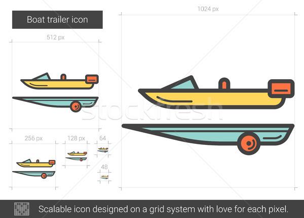 Boot lijn icon vector geïsoleerd witte Stockfoto © RAStudio